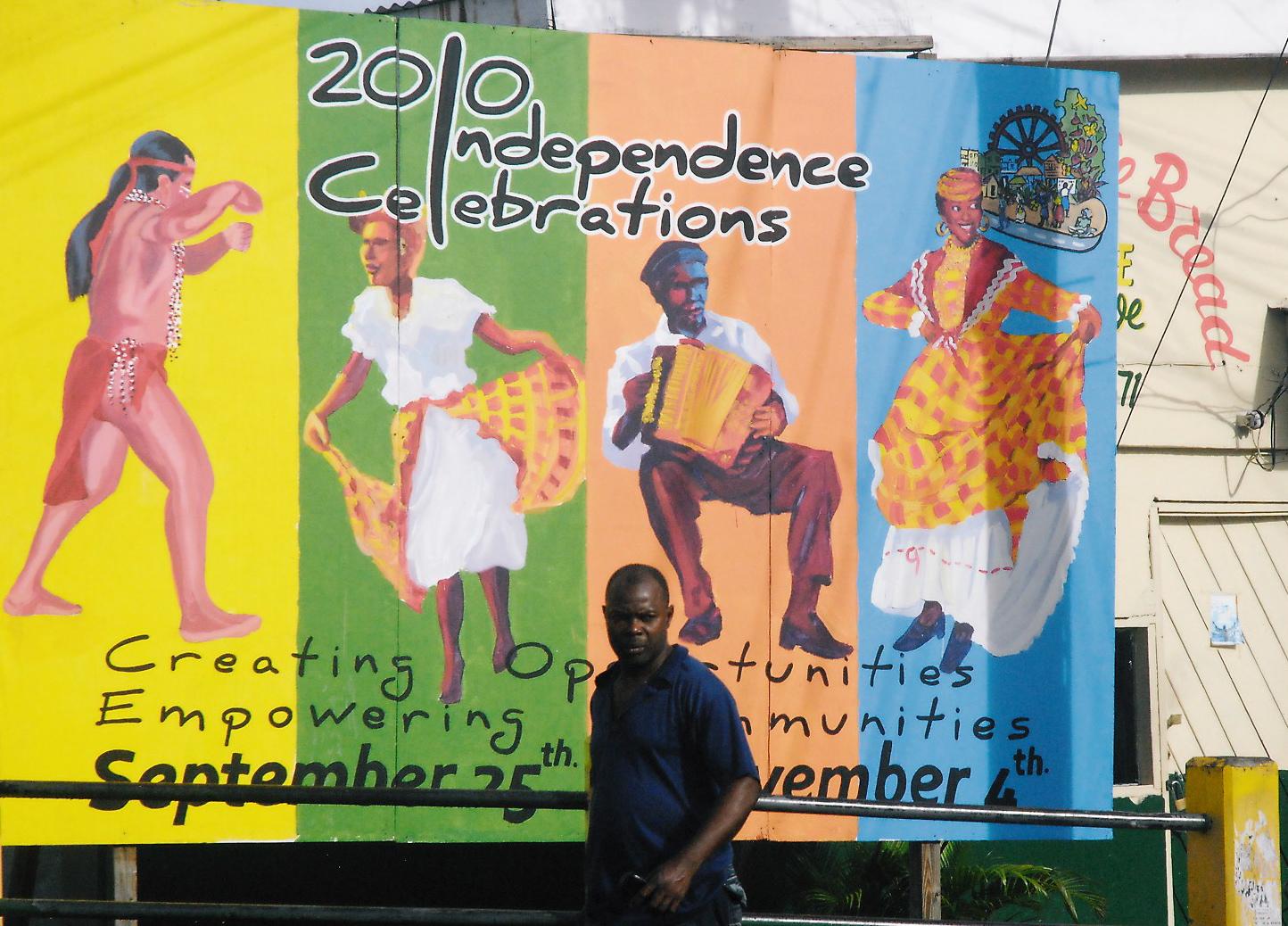 Roseau, capitale de La Dominique. Commémoration de l'indépendance.