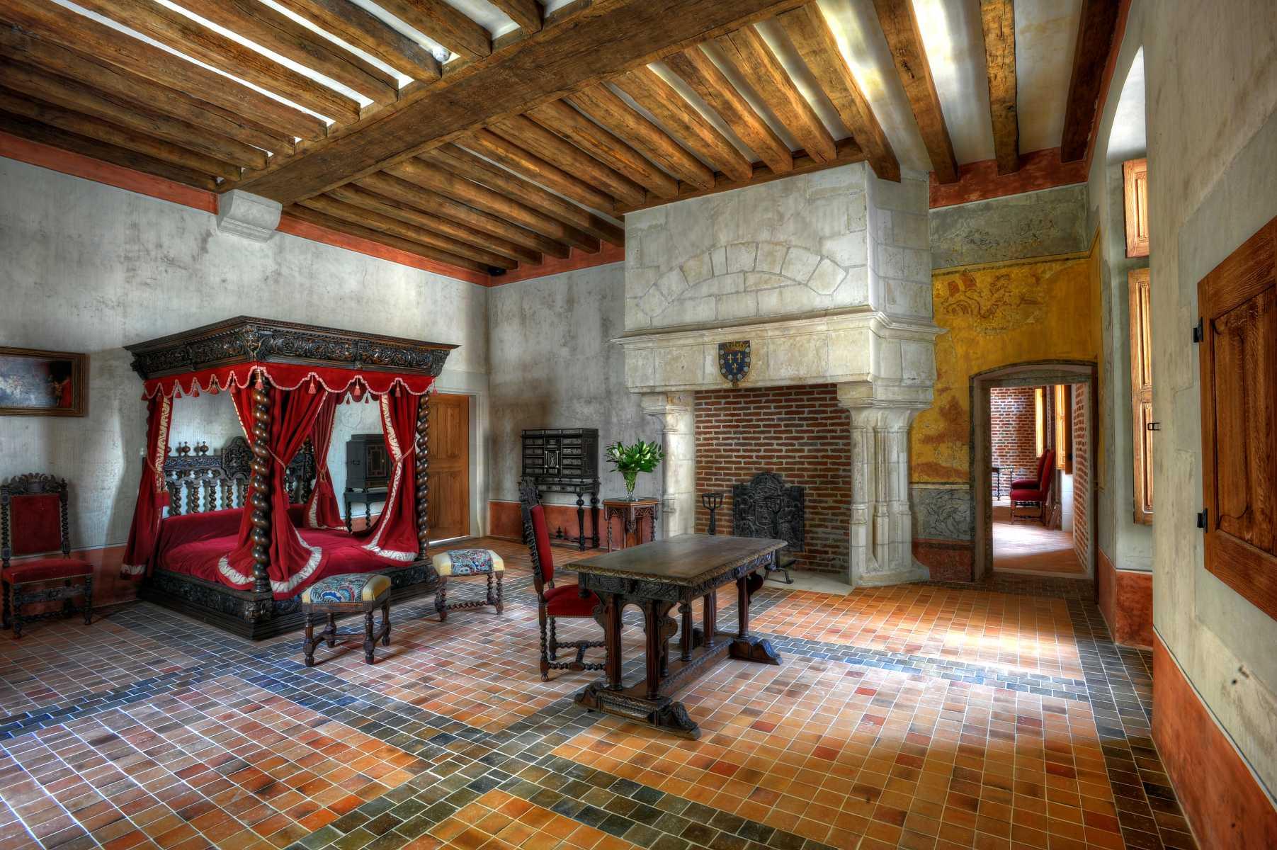 France - Clos-Lucé - Reconstitution de la chambre où Léonard de Vinci aurait fini ses jours
