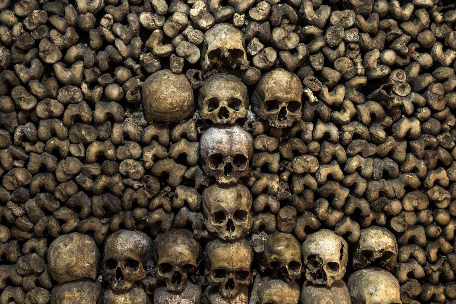 France - Paris - Catacombes - L'un des « tableaux » réalisés par les carriers des catacombes.