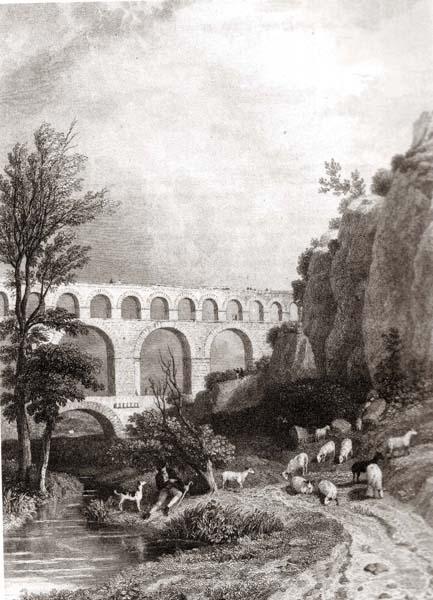 France - Gravure - Le romantisme au Pont du Gard.