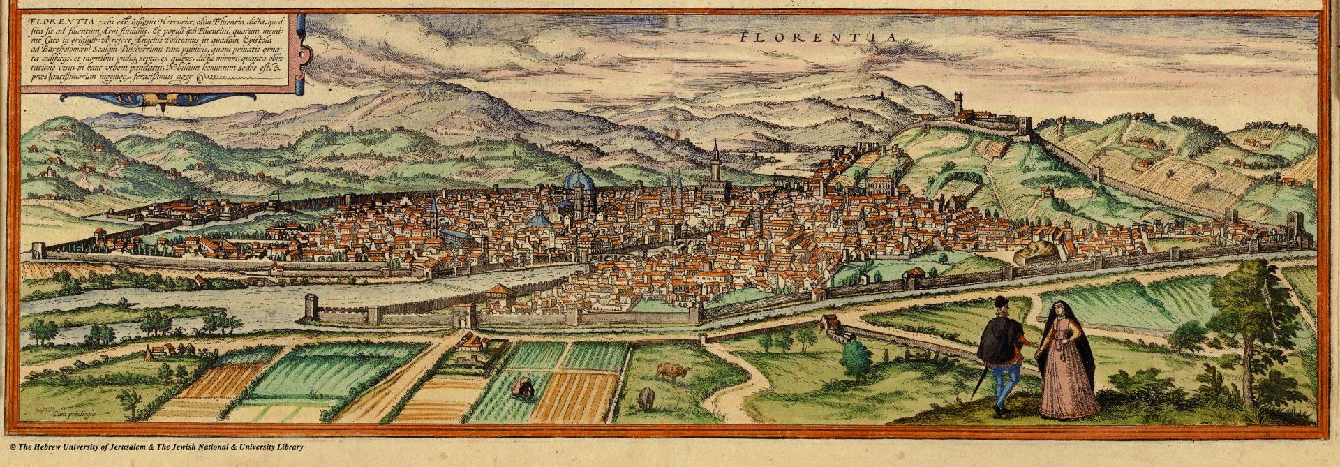 Italie - Renaissance - Carte de Florence Braun Hogenberg