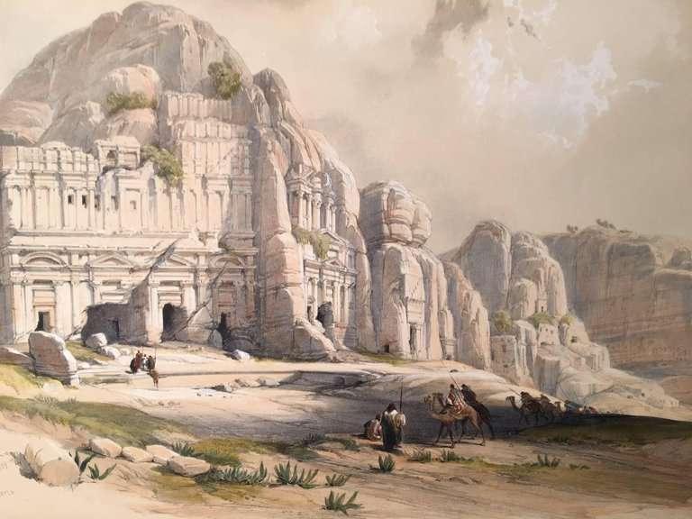 Jordanie - Petra - Les ruines de Pétra vues par le peintre David Roberts.