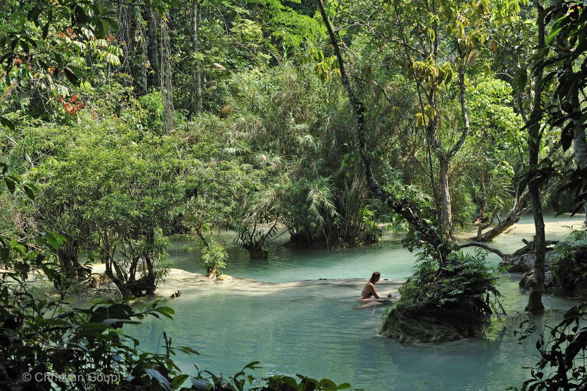 Laos - Baignade idyllique au pied des chutes de Kuang Si, à quelques kilomètres de Luang Prabang.