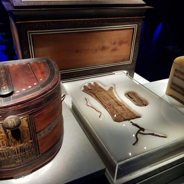 Coffres de voyage et gants de Toutankhamon
