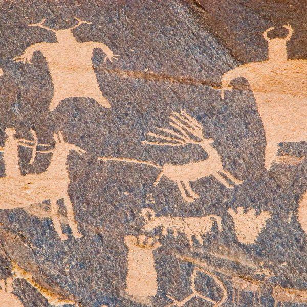 Etats-unis - Parcs de l'Utah - Pétroglyphes indiens près de Moab