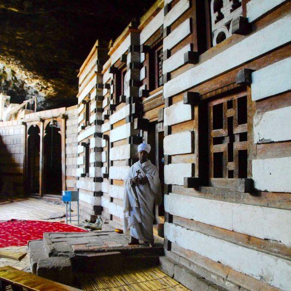 Ethiopie - Lalibela - L'église de Yimrhame est un chef-d'oeuvre de l'art médieval éthiopien.