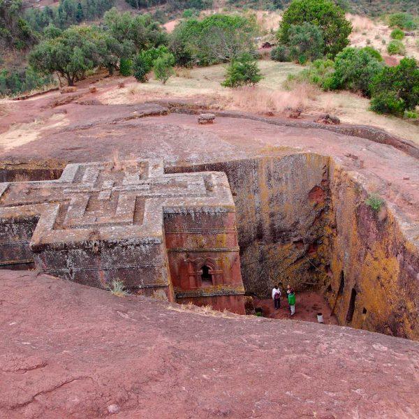 Ethiopie - Lalibela - Bieta Giyorgis - la Maison de Georges - est la plus célèbre des églises rupestres de Lalibela.