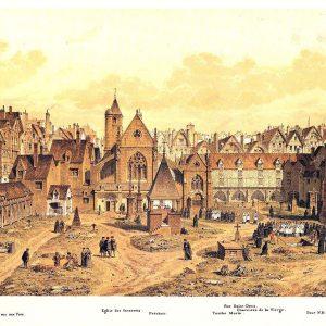 France - Paris - Catacombes - L'église des Saints-Innocents et le cimetière en 1550 selon Theodor Josef Hubert Hoffbauer.
