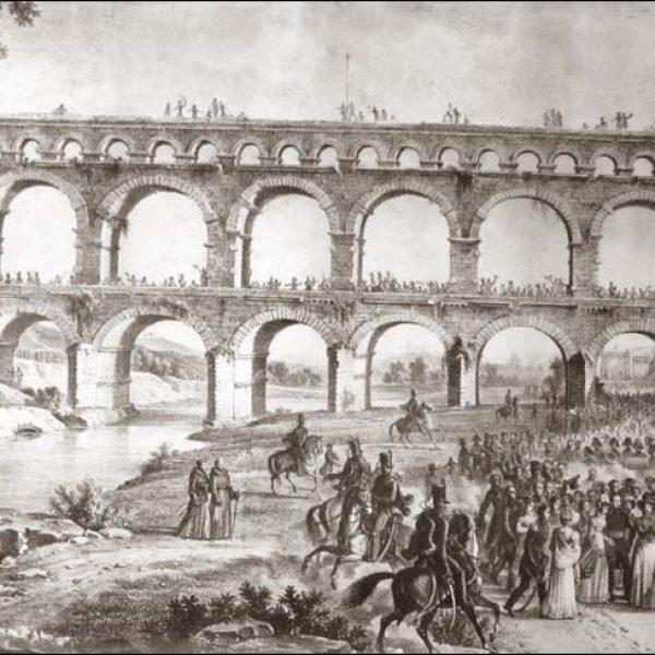 France - Pont du Gard - Visite du Pont par la duchesse d'Angoulême le 10 mai 1823. Lithographie d'un tableau de Christophe Jusky.