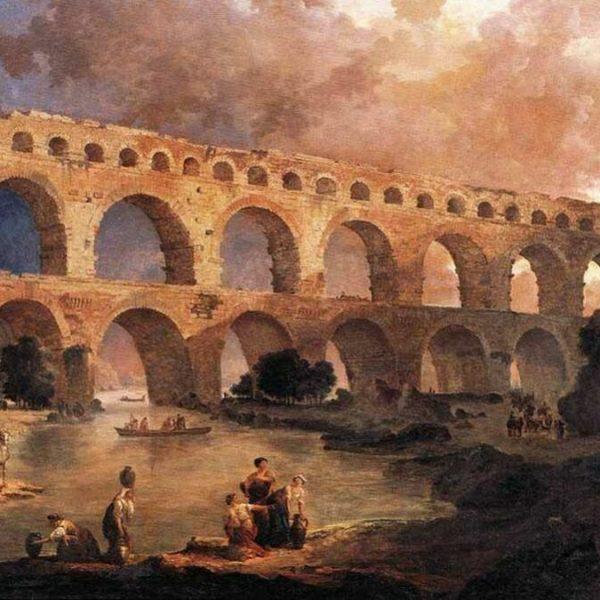 France - Le pont du Gard (1787) appartient à la série des Principaux monuments de France du peintre Hubert Robert.