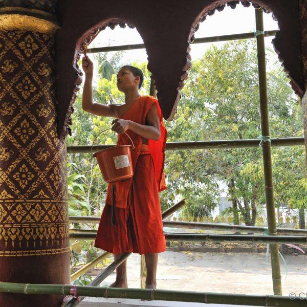 Laos - Jeune moine restaurant un temple à Luang Prabang.