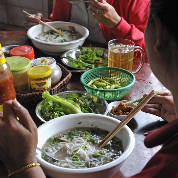 Laos - Noodle soup à la mode locale.