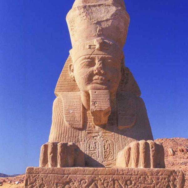 Nubie - L'allée du sphinx de Wadi-es-Seboua, déplacé en 1964