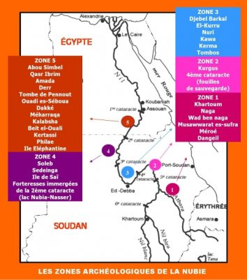 Nubie - Temples zone archéologiques carte