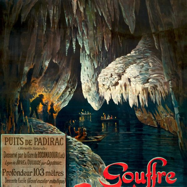 Affiche datée de 1899 de la SNCF pour promouvoir la visite du gouffre.