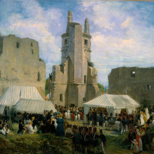 Le tableau de Firmin Féron présente l'état du château avant qu'il ne soit reconstruit par Viollet-le-Duc.
