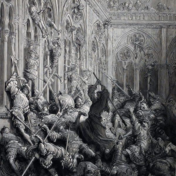 Frère Jean défendant l'abbaye de Seuilly, selon Gustave Doré.