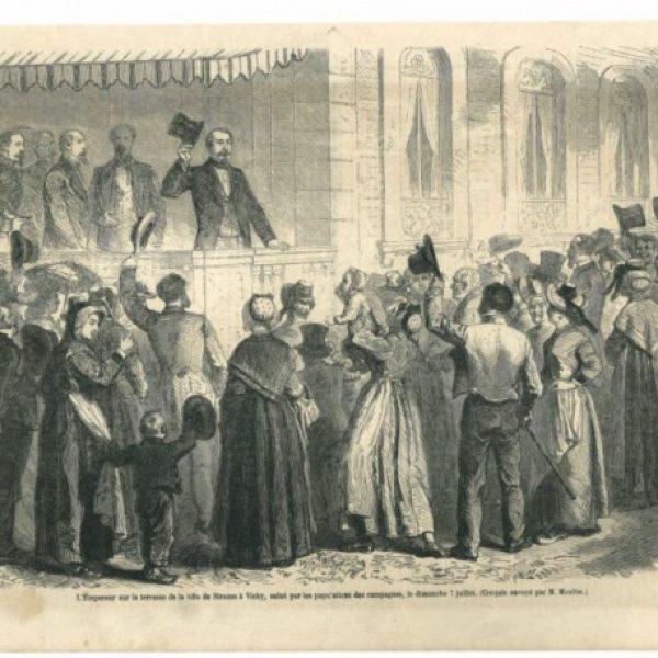 L'empereur au balcon d'un de ses chalets - Le Monde illustré - 1861.